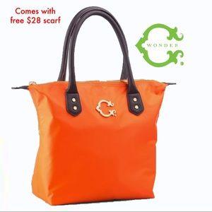 C. WONDER Orange Nylon Tote Bag & FREE $28 SCARF!